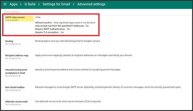 Email configuration: G Suite SMTP Settings