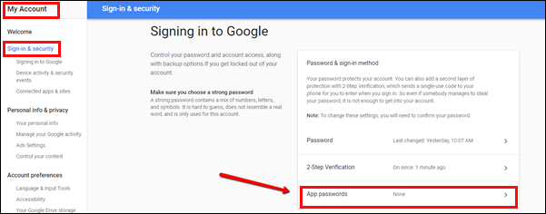 Email Configuration: App passwords used to sign into Google