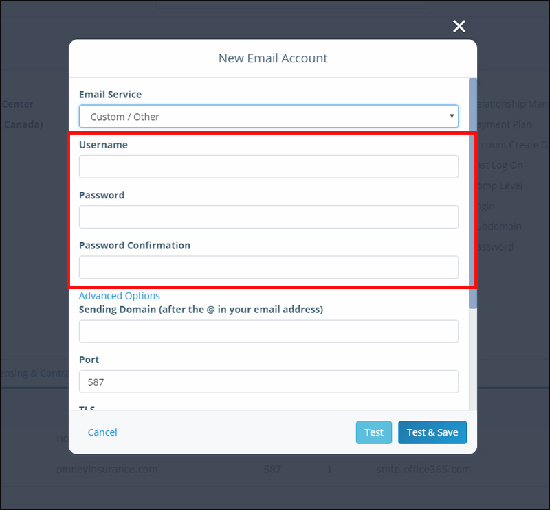 Email Configuration: Enter Credentials