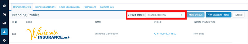 My Account - Branding Profiles: How to Change Your Default Brand, Step 1