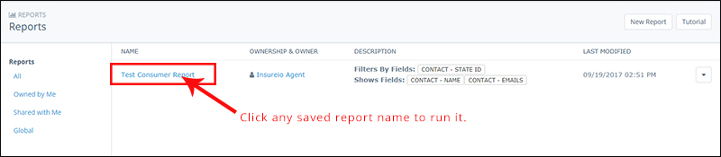 Run a saved report