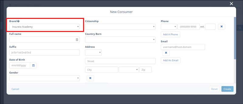 Contact Management: Adding a New Contact - filling out contact info modal
