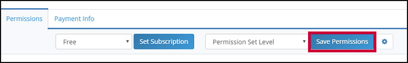 Save Permissions button in top-right of Permissions tab in Insureio